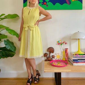 Vintage 50s/60s beaded yellow linen hostess dress